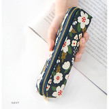 Navy - Breezy windy semo flower pattern pencil case