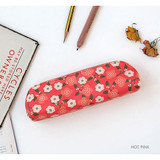 Hot pink - Breezy windy semo flower pattern pencil case