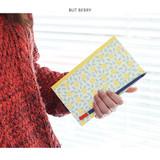 But berry - Promenade flower pattern plain notebook