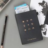 Black - Wannabe pictogram travel RFID blocking passport case