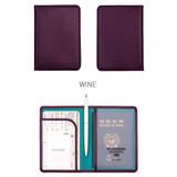 Wine - Classy plain RFID blocking mini passport case