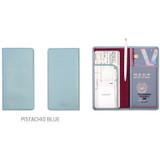 Pistachio blue - Classy plain RFID blocking long passport case