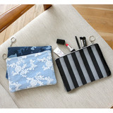 The Basic denim medium zipper pouch