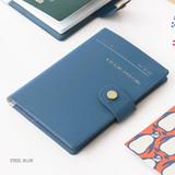 Steel blue - Snap button RFID blocking passport case