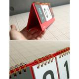 Detail of Wirebound flip perpetual desk calendar