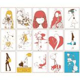 Composition of Moon illustration postcard set