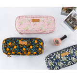Flower pattern block pencil case pouch