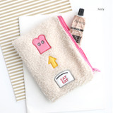 Ivory - Brunch brother cute square zipper pouch
