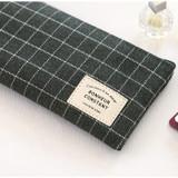 Grid - Basic coated cotton zipper pen pencil case