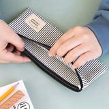 Stripe - Basic coated cotton zipper pen pencil case