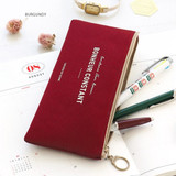 Burgundy - Basic coated cotton zipper pen pencil case