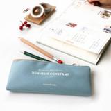 Indi blue - Basic coated cotton zipper pen pencil case