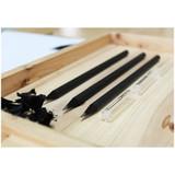 Black wood pencil and clear pencil cap set