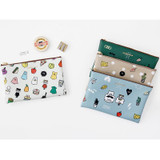 Ghost pop cute illustration zipper pouch M ver.2