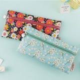 Flower pattern simple zipper pencil case