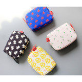 Rim pattern cotton zipper small pouch
