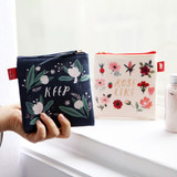 Rim pattern cotton square zipper pouch