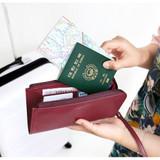 Burgundy - Walking in the air passport organizer wallet
