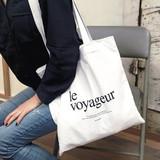 Le voyageur white cotton shoulder tote bag