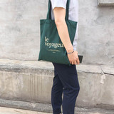 Le voyageur green cotton shoulder tote bag