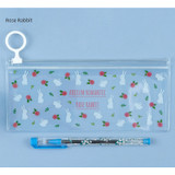 Rose rabbit - Pattern bling clear zip lock small pouch