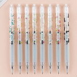 Style flower pattern knock retractable 0.5mm black gel pen