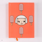 A - Cute girl hardcover lined notebook