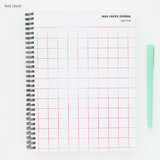 Red check - Mon cahier wirebound large undated daily planner