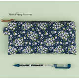 Navy cherry blossom - Cherry blossom pattern zipper pouch