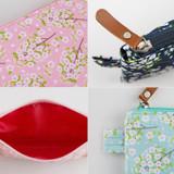Detail of Cherry blossom pattern zipper pouch