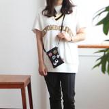 Black - Hello cute illustration slim crossbody bag