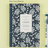 Navy cherry blossom - 2017 Flower pattern weekly dated journal