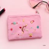 Love - In space small cotton zipper pouch