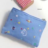 Unicorn - In space small cotton zipper pouch