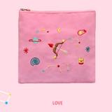 Love - In space medium cotton zipper pouch