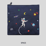 Space - In space medium cotton zipper pouch