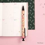 Pink flower - Toffeenut cute black ballpoint pen 0.7mm