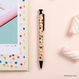 Rainbow dot - Toffeenut cute black ballpoint pen 0.7mm