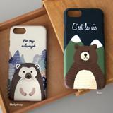Hedgehog / Bear - Pattern matte plastic hard case for iPhone 7