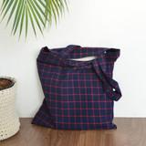 Navy / red - Jam studio Daily check ecobag shoulder tote bag
