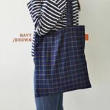 Navy / brown- Daily check ecobag shoulder tote bag