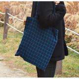 Navy / green - Daily check ecobag shoulder tote bag