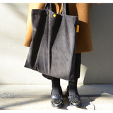 Gray - Jam studio Cozy corduroy shoulder tote bag