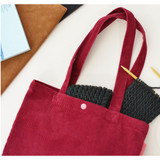 Red - Jam studio Cozy corduroy shoulder tote bag
