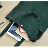 Green - Jam studio Cozy corduroy shoulder tote bag