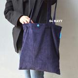 Navy - Jam studio Cozy corduroy shoulder tote bag