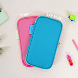 Pink / Sky blue - Folding pencil case pocket pouch ver.4