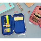 Sky blue / Pink - Folding pencil case pocket pouch ver.4
