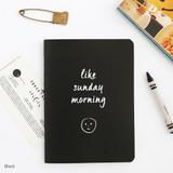 Black - Romane illustration medium plain and lined notebook