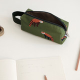 Lesser panda - Pattern canvas pencil case with strap